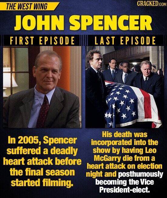 THE WEST WING CRACKEDcO JOHN SPENCER FIRST EPISODE LAST EPISODE His death was In 2005, Spencer incorporated into the suffered a deadly show by having Leo heart attack before McGarry die from a heart attack on election the final season night and posthumously started filming. becoming the Vice President-elect.