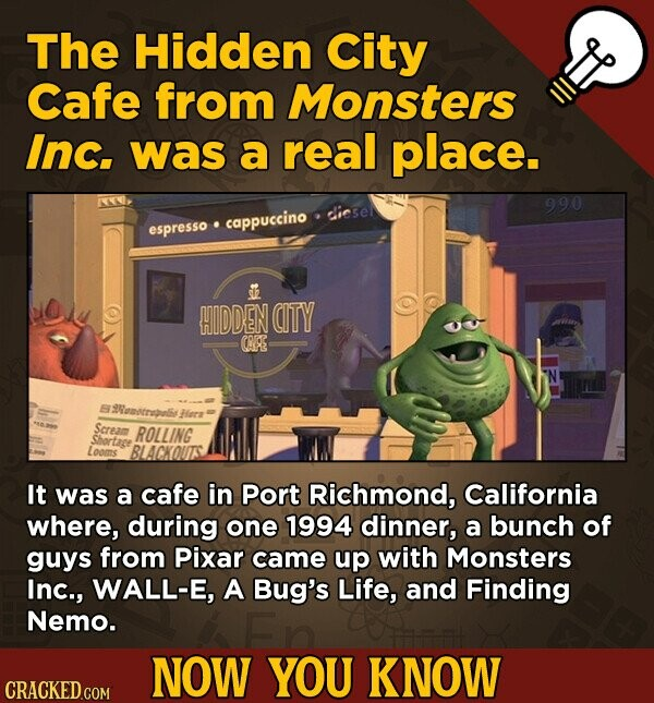 The Hidden City Cafe from Monsters Inc. was a real place. 990 dies cappuccino espresso HIDDEN CITY COR emcruls Herr Seream ROLLING Shortage Looms BLAC