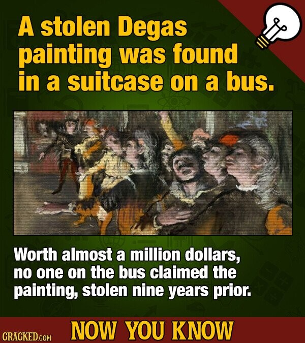 A stolen Degas painting was found in a suitcase on a bus. Worth almost a million dollars, no one on the bus claimed the painting, stolen nine years prior. NOW YOU KNOW CRACKED COM