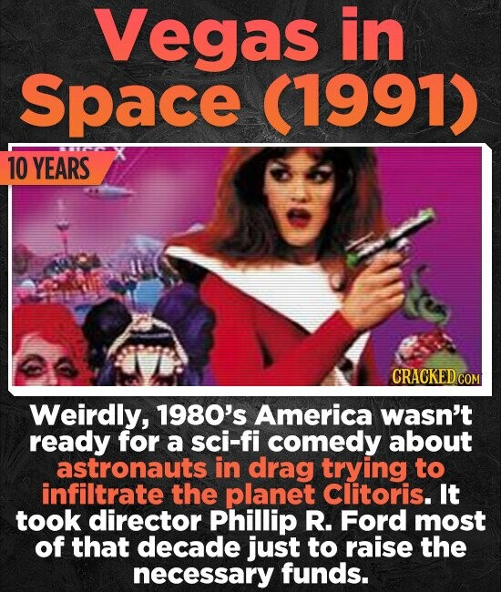 Vegas in Space (1991) 10 YEARS CRACKED CO Weirdly, 1980's America wasn't ready for a sci-fi comedy about astronauts in drag trying to infiltrate the planet Clitoris. It took director Phillip R. Ford most of that decade just to raise the necessary funds.