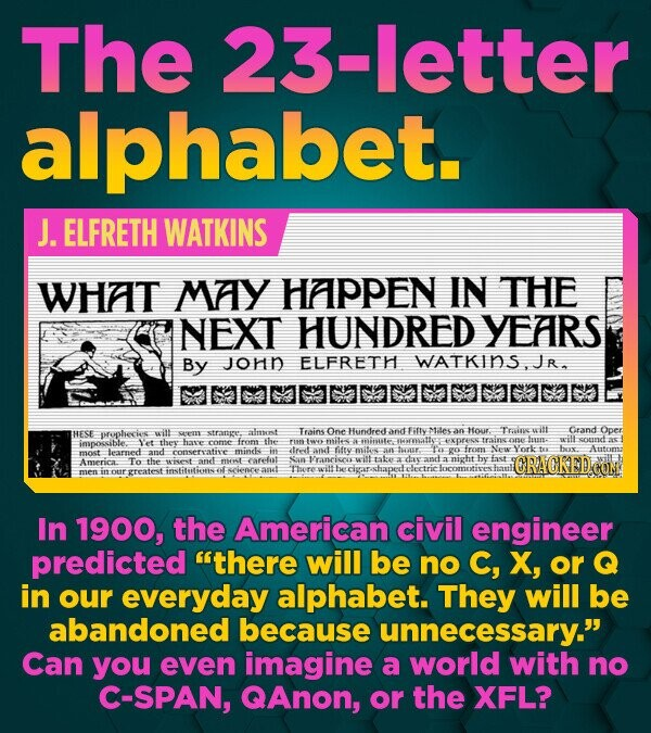 The 23-letter alphabet. J. ELFRETH WATKINS WHAT MAY HAPPEN IN THE NEXT HUNDRED YEARS By JOHD ELFRETH WATKINS.JR HESE wit almenst Trains One Hundeed hn