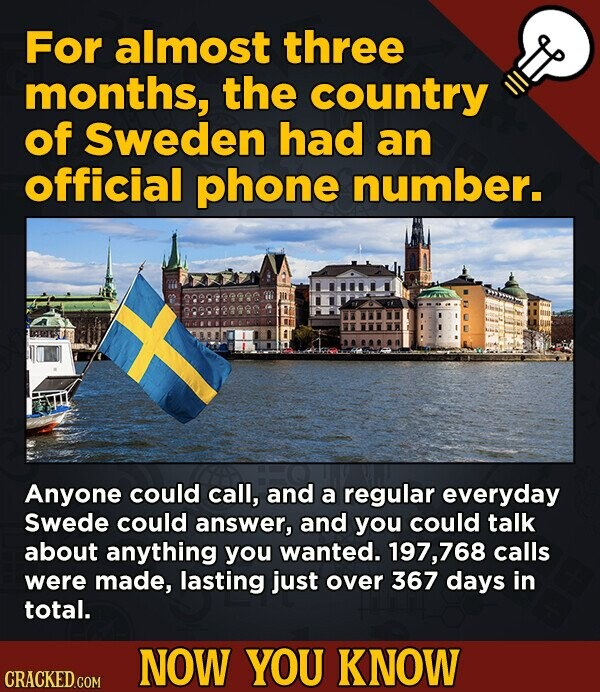 For almost three months, the country of Sweden had an official phone number. Anyone could call, and a regular everyday Swede could answer, and you cou