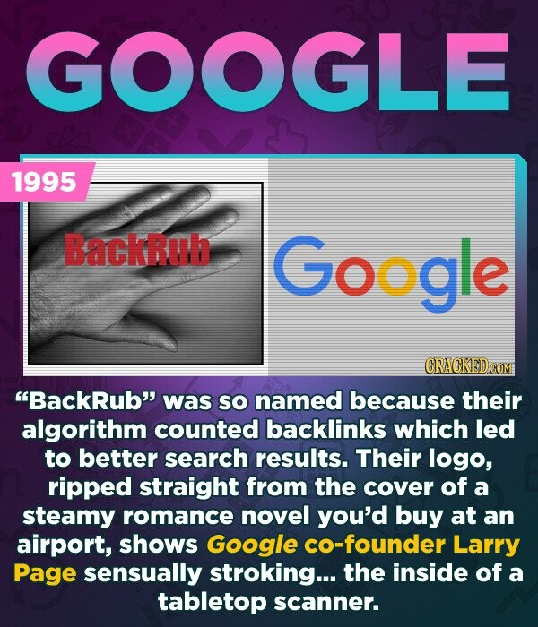 GOOGLE 1995 Backrub Google BackRub was SO named because their algorithm counted backlinks which led to better search results. Their logo, ripped straight from the cover of a steamy romance novel you'd buy at an airport, shows Google co-founder Larry Page sensually stroking... the inside of a tabletop scanner.