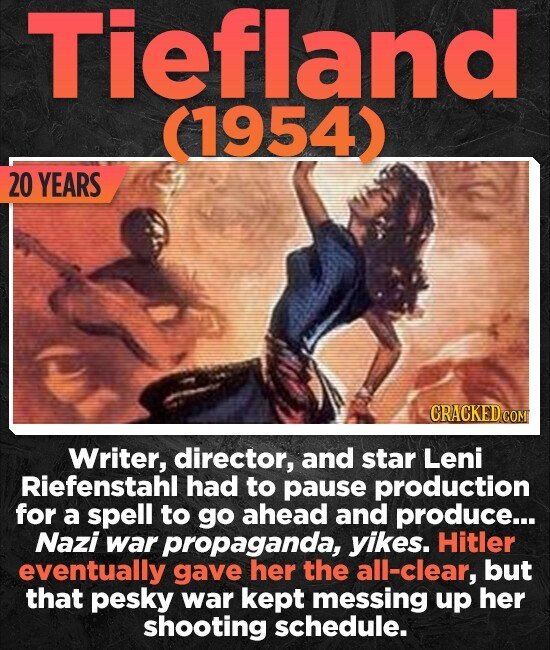 Tiefland 1954) 20 YEARS CRACKEDC Writer, director, and star Leni Riefenstahl had to pause production for a spell to go ahead and produce... Nazi war propaganda, yikes. Hitler eventually gave her the all-clear, but that pesky war kept messing up her shooting schedule.