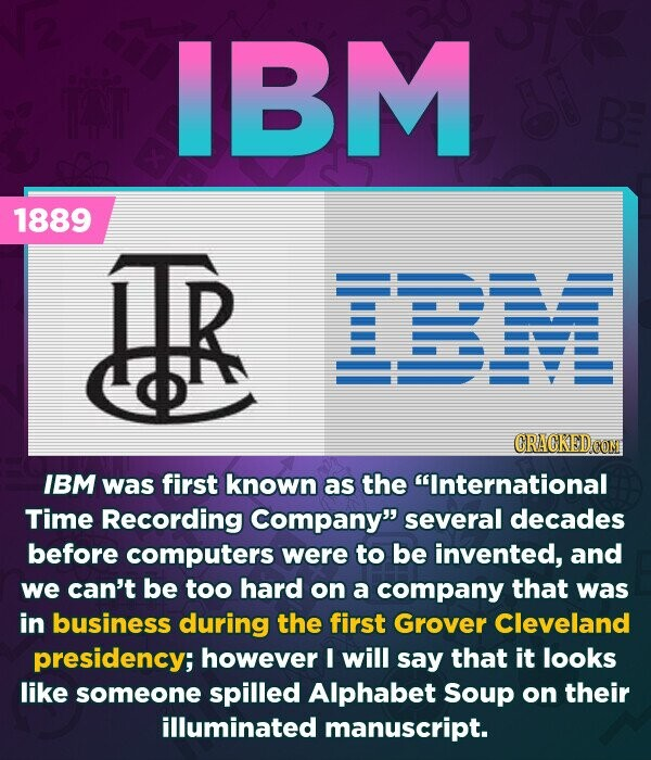 IBM HAN B 1889 HR CRACKEDCO IBM was first known as the International Time Recording Company several decades before computers were to be invented, and we can't be too hard on a company that was in business during the first Grover Cleveland presidency; however I will say that it looks
