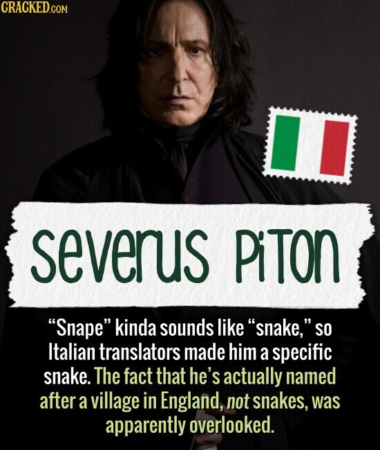 Severus Piton Snape kinda sounds like snake, SO Italian translators made him a specific snake. The fact that he's actually named after a village in England, not snakes, was apparently overlooked.