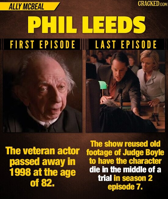 ALLY MCBEAL CRACKED GOM PHIL LEEDS FIRST EPISODE LAST EPISODE The show reused old The veteran actor footage of Judge Boyle passed away in to have the character 1998 at the die in the middle of age a trial in of season 2 82. episode 7.