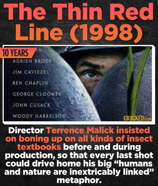 The Thin Red Line (1998) 10 YEARS N ADRIEN BRODY JIM CAVIEZEL BEN CHAPLIN GEORGE CLOONAY JOHN CUSACK WOODY HARRELSON CRACKED cO Director Terrence Malick insisted on boning uP on all kinds of insect textbooks before and during production, SO that every last shot could drive home his big humans and