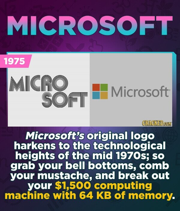 MICROSOFT 1975 MICRO Microsoft SOfT CRACKED COM Microsoft's original logo harkens to the technological heights of the mid 1970s; SO grab your bell bottoms, comb your mustache, and break out your 500 computing machine with 64 KB of memory.