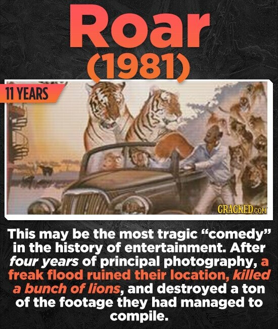 Roar (1981) 11 YEARS CRACKEDcO This may be the most tragic comedy in the history of entertainment. After four years of principal photography, a freak flood ruined their location, killed a bunch of lions, and destroyed a ton of the footage they had managed to compile.