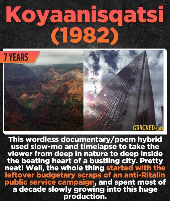 Koyaanisqatsi (1982) 7 YEARS CRACKED.CON This wordless documentary/ poem hybrid used slow-mo and timelapse to take the viewer from deep in nature to deep inside the beating heart of a bustling city. Pretty neat! Well, the whole thing started with the leftover budgetary scraps of an nti-Ritalin public service campaign,