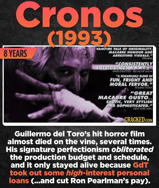Cronos (1993)) VAERE YEARS TALE Of ORHOINALITY. 8 AACA8BB HVAOUD ANO ABESTINO VUA4. MCONSISTENTLY IMAIGUING 1G 2 -A 81818 BLEND FUN, FRIGHT AND MORAL FERVOR. GREAT MACABRE GUSTO. EXOTIC. VERY STYLISH And SOPHISTICATED. CRACKEDd Guillermo del Toro's hit horror film almost died on the vine, several times. His signature