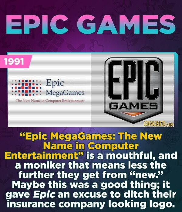 EPIC GAMES 1991 EPIC Epic MegaGames The ee Nawe in Computer Enteertainmeene GAMES Epic MegaGames: The New Name in Computer Entertainment is a mouthful, and a moniker that means less the further they get from new. Maybe this was a good thing; it gave Epic an excuse to ditch