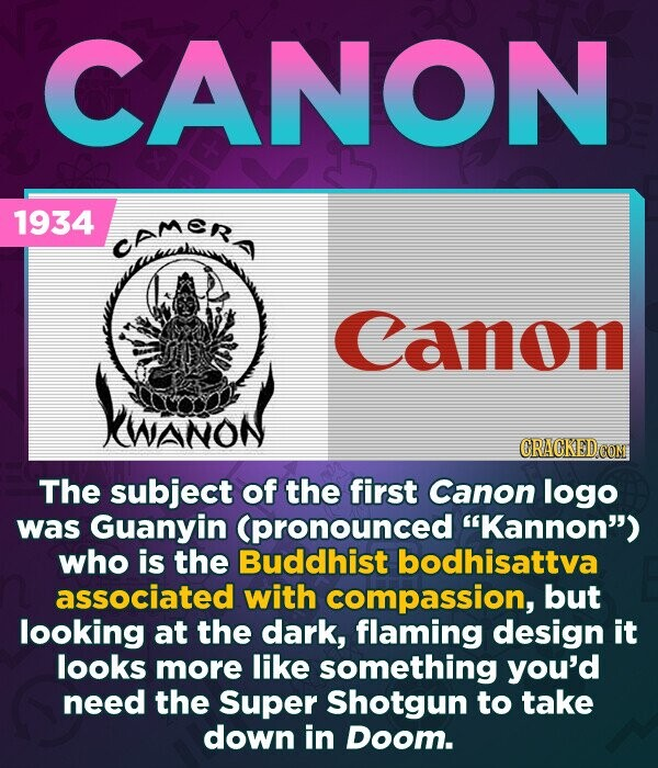 CANON 1934 camer Canon VinoN CRACKED COM The subject of the first Canon logo was Guanyin (pronounced Kannon) who is the Buddhist bodhisattva associated with compassion, but looking at the dark, flaming design it looks more like something you'd need the Super Shotgun to take down in Doom.