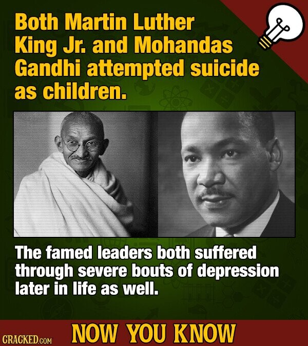 Both Martin Luther King Jr. and Mohandas Gandhi attempted suicide as children. The famed leaders both suffered through severe bouts of depression later in life as well. NOW YOU KNOW CRACKED COM