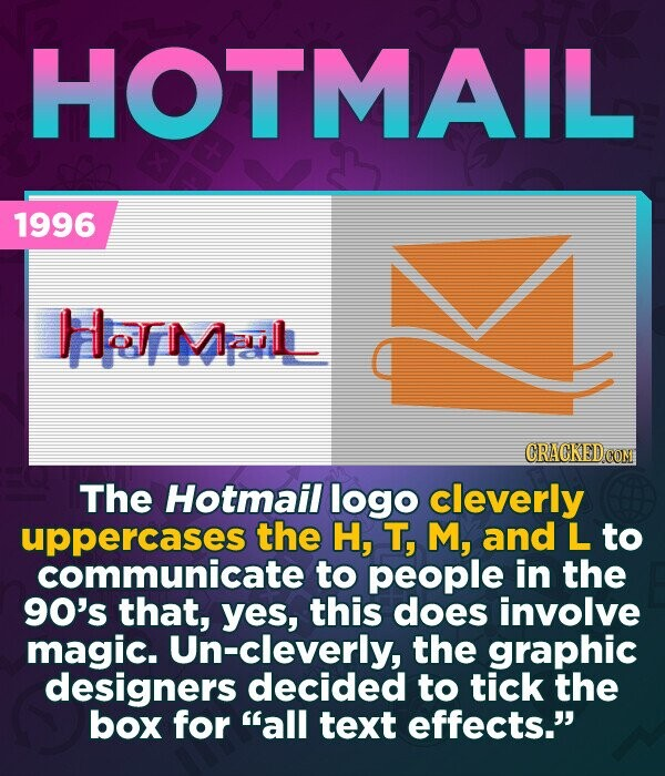 HOTMAIL 1996 Hmul The Hotmail logo cleverly uppercases the H, T, M, and L to communicate to people in the 90's that, yes, this does involve magic. Un-cleverly, the graphic designers decided to tick the box for all text effects.