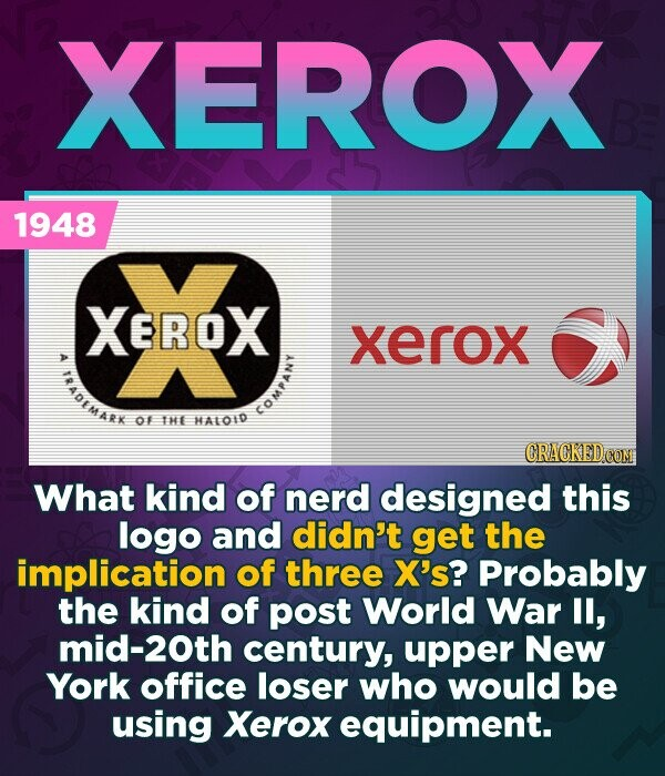 XEROX 1948 XEROX xerox ADEMARK OF THE HALOID COM CRACKED COM What kind of nerd designed this logo and didn't get the implication of three X's? Probably the kind of post World War ll, mid-20th century, upper New York office loser who would be using Xerox equipment.