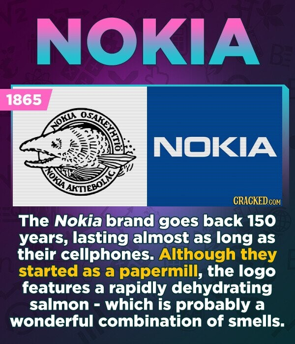 NOKIA B 1865 OSAKETHTIOS NOKIA NOKIA NOKIA AKTIEBOLN CRACKEDc The Nokia brand goes back 150 years, lasting almost as long as their cellphones. Although they started as a papermill, the logo features a rapidly dehydrating salmon which is probably a wonderful combination of smells.