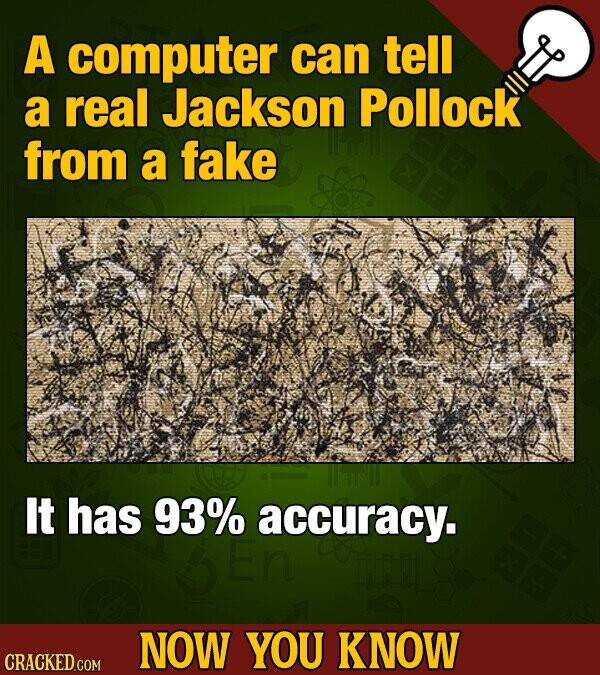 A computer can tell a real Jackson Pollock from a fake It has 93% accuracy. NOW YOU KNOW CRACKED COM