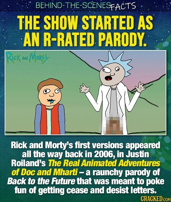BEHIND-THE-SCENES SFACTS THE SHOW STARTED AS AN R-RATED. PARODY. Rick Mory A Rick and Morty's first versions appeared all the way back in 2006, in Justin Roiland's The Real Animated Adventures of Doc and Mharti- a raunchy parody of Back to the Future that was meant to poke fun of