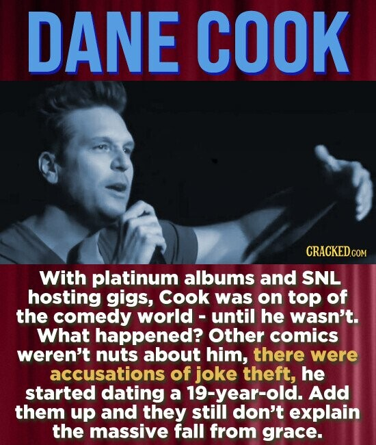 DANE COOK With platinum albums and SNL hosting gigs, Cook was on top of the comedy world - until he wasn't. What happened? Other comics weren't nuts about him, there were accusations of joke theft, he started dating a 19-year-old. Add them up and they still don't explain the massive