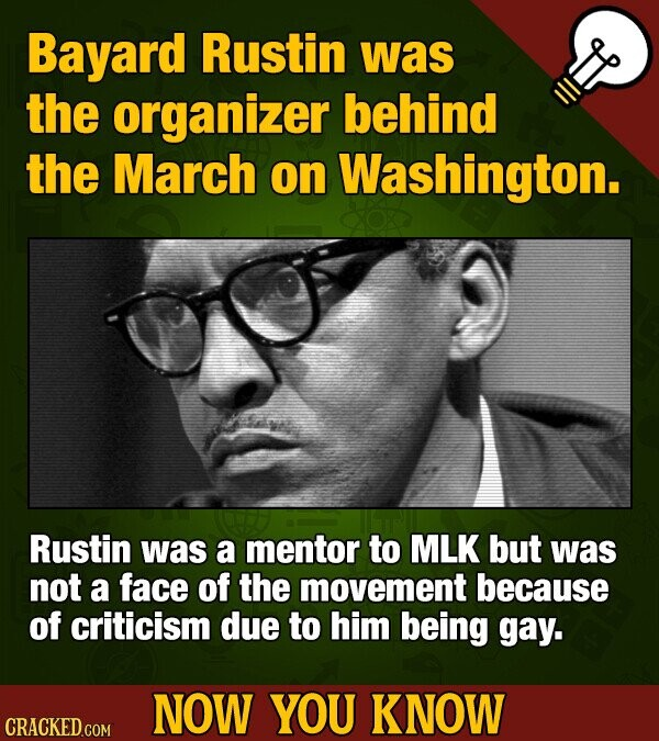 Bayard Rustin was the organizer behind the March on Washington. Rustin was a mentor to MLK but was not a face of the movement because of criticism due to him being gay. NOW YOU KNOW CRACKED COM