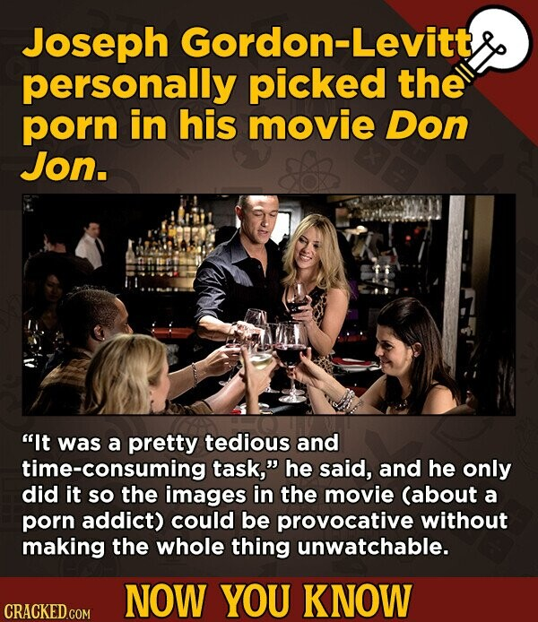 Joseph Gordon-Levitt personally picked the porn in his movie Don Jon. It was a pretty tedious and time-consuming task, he said, and he only did it S