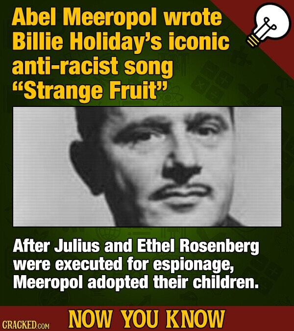 Abel Meeropol wrote Billie Holiday's iconic anti-racist song Strange Fruit After Julius and Ethel Rosenberg were executed for espionage, Meeropol adopted their children. NOW YOU KNOW CRACKED COM