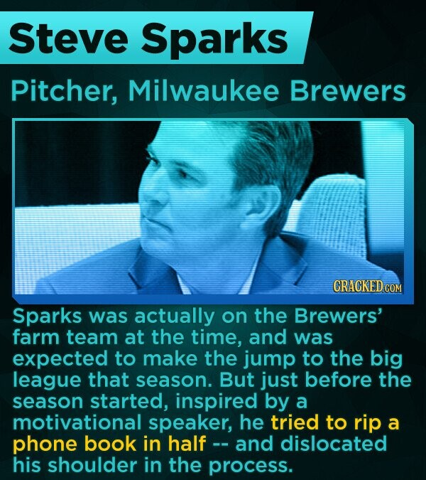 Steve Sparks Pitcher, Milwaukee Brewers CRACKED Sparks was actually on the Brewers' farm team at the time, and was expected to make the jump to the big league that season. But just before the season started, inspired by a motivational speaker, he tried to rip a phone book in half