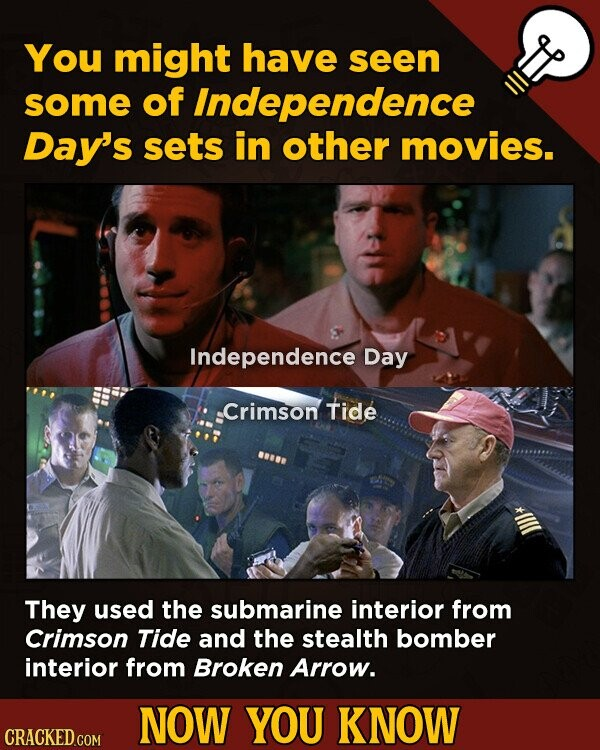 You might have seen some of Independence Day's sets in other movies. Independence Day .Crimson Tide They used the submarine interior from Crimson Tide