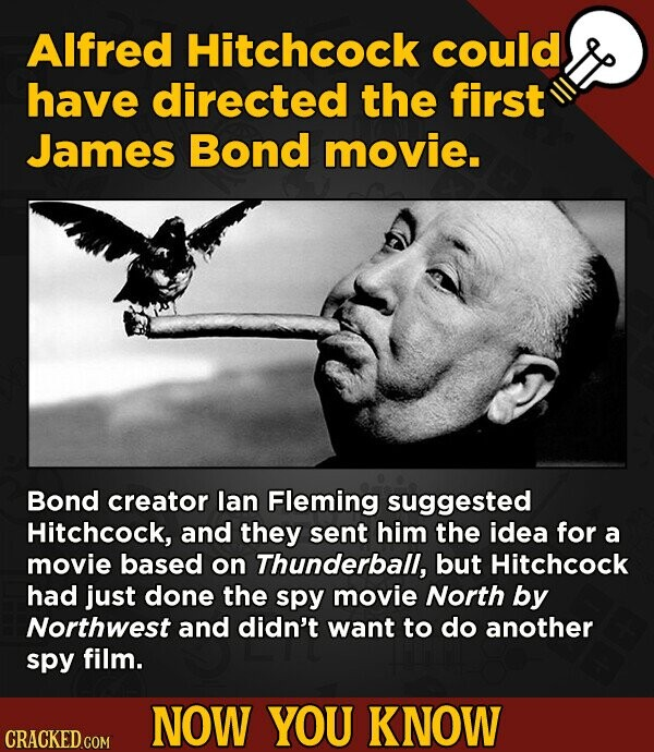 AIfred Hitchcock could have directed the first James Bond movie. Bond creator lan Fleming suggested Hitchcock, and they sent him the idea for a movie