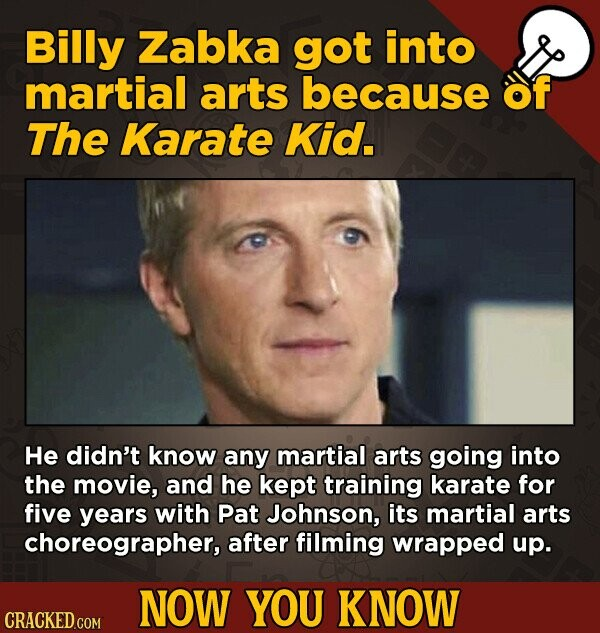 Billy Zabka got into martial arts because of The Karate Kid. He didn't know any martial arts going into the movie, and he kept training karate for fiv