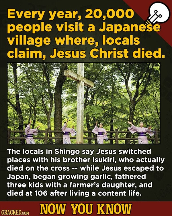 Every year, 000 people visit a Japanese village where, locals claim, Jesus Christ died. The locals in Shingo say Jesus switched places with his brothe