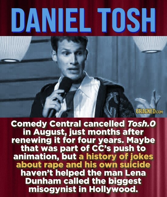 DANIEL TOSH Comedy Central cancelled Tosh.o in August, just months after renewing it for four years. Maybe that was part of cC's push to animation, but a history of jokes about rape and his own suicide haven't helped the man Lena Dunham called the biggest misogynist in Hollywood.