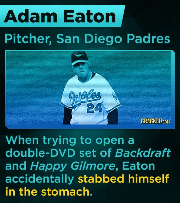 Adam Eaton Pitcher, San Diego Padres zioes 24 CRACKED COM When trying to open a double-DVD set of Backdraft and Happy Gilmore, Eaton accidentally stabbed himself in the stomach.