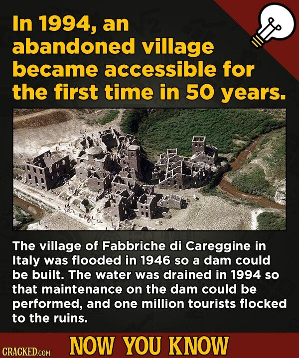 In 1994, an abandoned village became accessible for the first time in 50 years. The village of Fabbriche di Careggine in Italy was flooded in 1946 SO