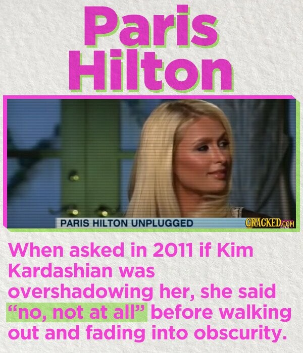 Paris Hilton PARIS HILTON UNPLUGGED CRACKED.COM When asked in 2011 if Kim Kardashian was overshadowing her, she said no, not at all' before walking out and fading into obscurity.