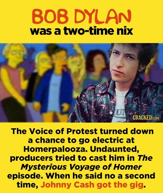 808 DYLAN was a two-time nix U The Voice of Protest turned down a chance to go electric at Homerpalooza. Undaunted, producers tried to cast him in The Mysterious Voyage of Homer episode. When he said no a second time, Johnny Cash got the gig.