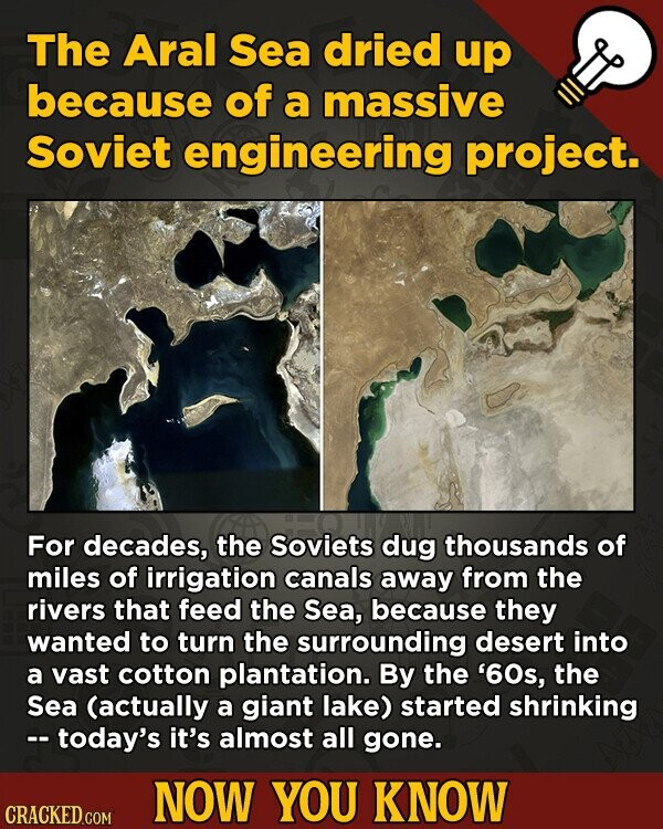 The Aral Sea dried up because of a massive Soviet engineering project. For decades, the Soviets dug thousands of miles of irrigation canals away from