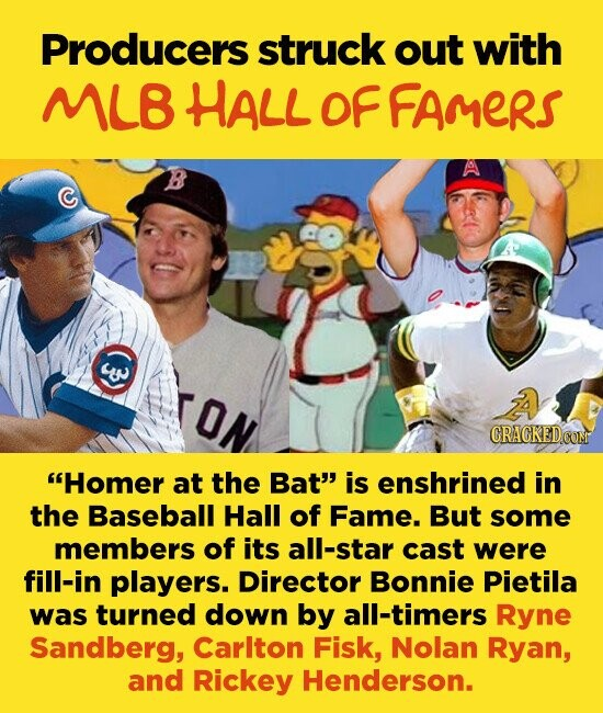 Producers struck out with ML HALL OF FAMERS C CRAGKEDCOM Homer at the Bat'' is enshrined in the Baseball Hall of Fame. But some members of its all-star cast were fill-in players. Director Bonnie Pietila was turned down by all-timers Ryne Sandberg, Carlton Fisk, Nolan Ryan, and Rickey Henderson.