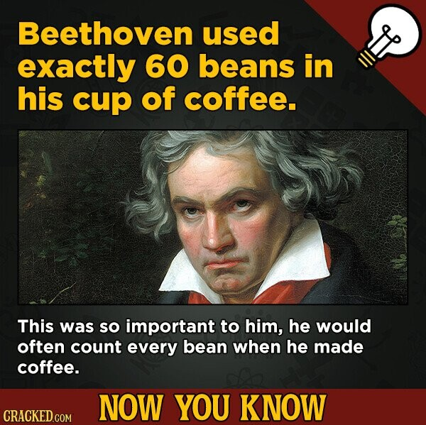 Beethoven used exactly 60 beans in his cup of coffee. This was SO important to him, he would often count every bean when he made coffee. NOW YOU KNOW