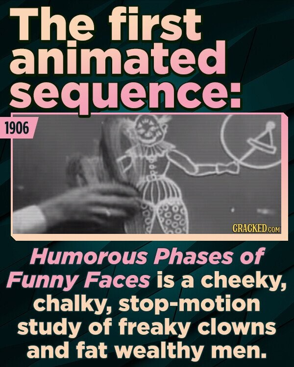 The first animated sequence: 1906 CRACKED COM Humorous Phases of Funny Faces is a cheeky, chalky, motion study of freaky clowns and fat wealthy men.