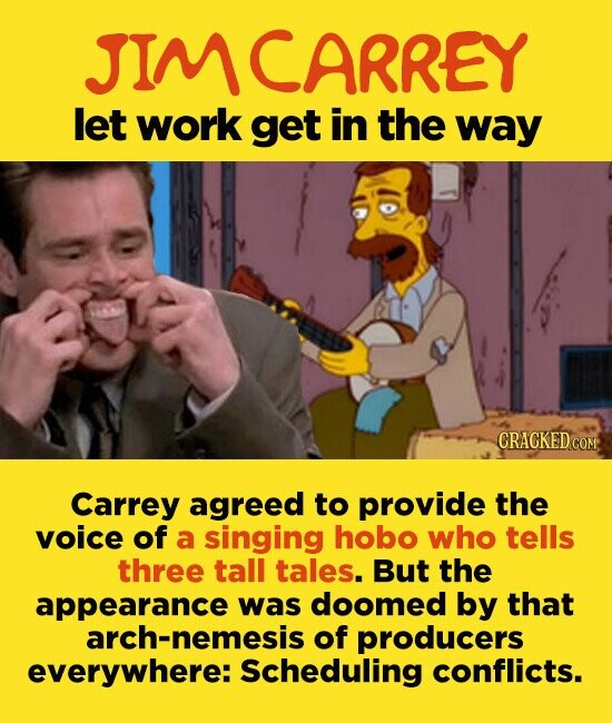 JIMCARREY let work get in the way CRACKEDCO Carrey agreed to provide the voice of a singing hobo who tells three tall tales. But the appearance was doomed by that arch-nemesis of producers everywhere: Scheduling conflicts.