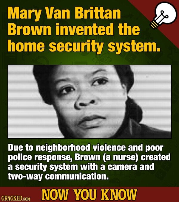 Mary Van Brittan Brown invented the home security system. Due to neighborhood violence and poor police response, Brown (a nurse) created a security system with a camera and two-way communication. NOW YOU KNOW CRACKED COM