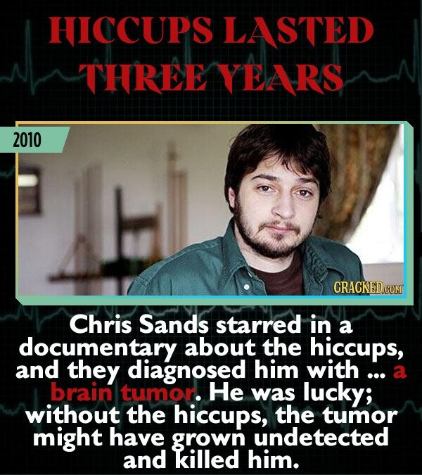 HICCUPS LASTED THREE YEARS 2010 Chris Sands starred in a documentary about the hiccups, and they diagnosed him with ... a brain tumor He was lucky; without the hiccups, the tumor might have grown undetected and killed him.