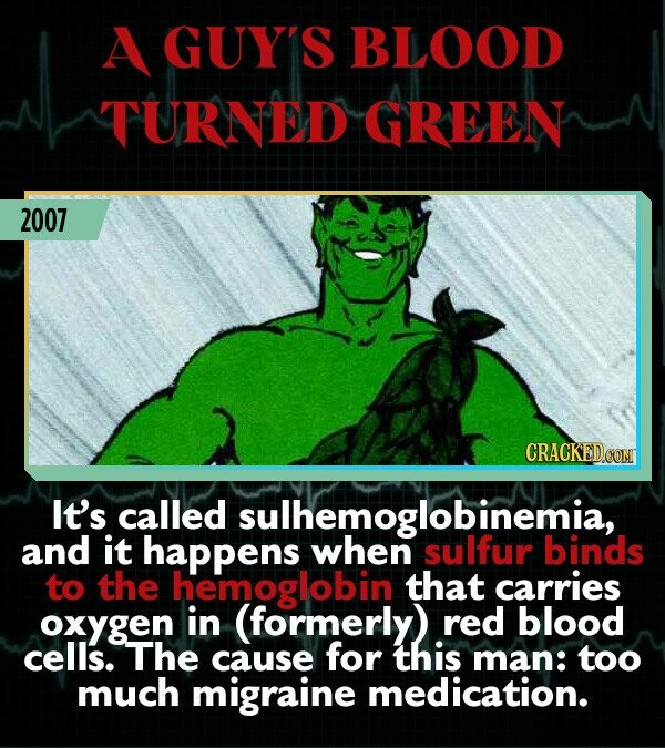 A GUY'S BLOOD TURNED GREEN 2007 It's called sulhemessulfur and it happens binds to the hemoglobin that carries oxygen in (formerly) red blood cells. The cause for this man: too much migraine medication.