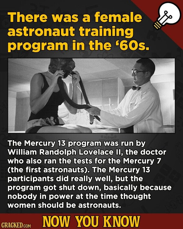 There was a female astronaut training program in the '60s. The Mercury 13 program was run by William Randolph Lovelace I, the doctor who also ran the
