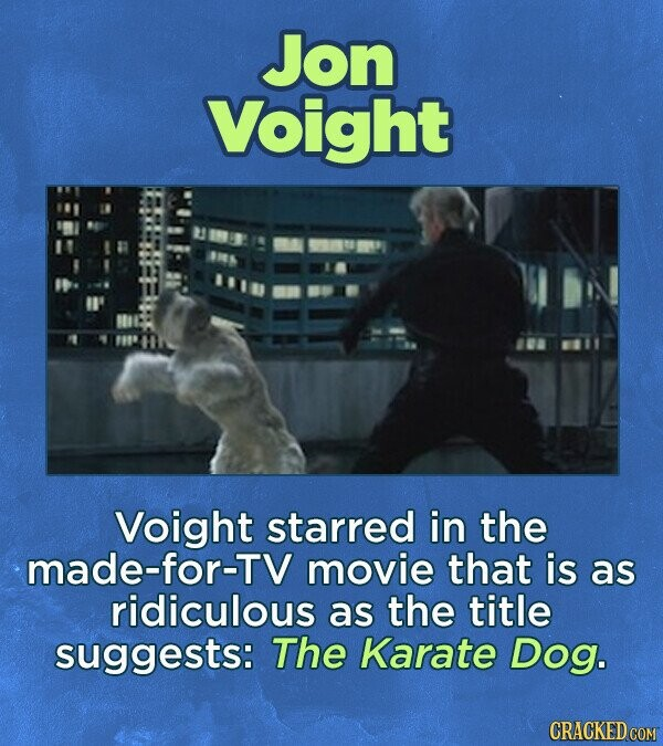 Jon Voight Voight starred in the made-for-TV movie that is as ridiculous as the title suggests: The Karate Dog. CRACKED COM