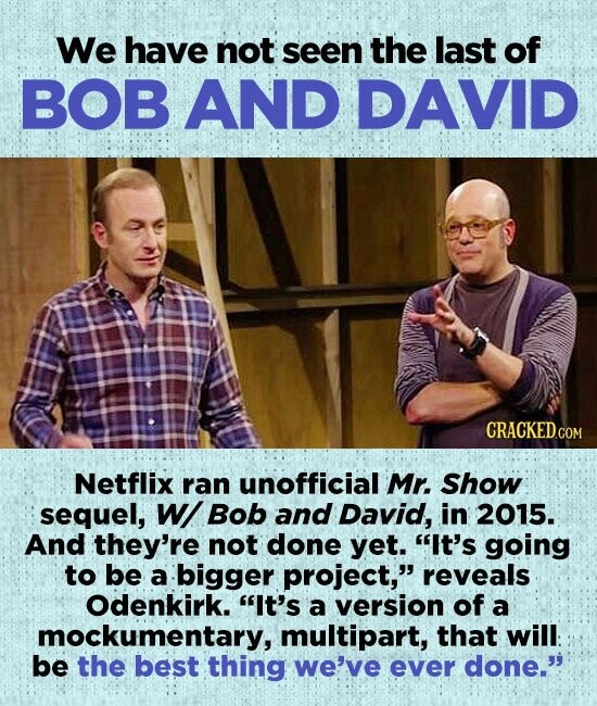We have not seen the last of BOB AND DAVID Netflix ran unofficial Mr. Show sequel, W Bob and David, in 2015. And they're not done yet. It's going to be a bigger project, reveals Odenkirk. It's a version of a mockumentary, multipart, that will: be the best thing