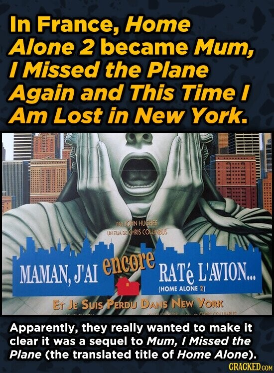 In France, Home Alone 2 became Mum, I Missed the Plane Again and This Time I Am Lost in New York. PAR ION HUCHES UN FILM DE CHRIS COLURBUS MAMAN, J'AT